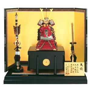 五月人形 久月 鎧平飾り 鎧飾り 加藤峻厳作 1/4 赤糸縅大鎧 貼り合わせ小札 本鹿韋 h305-k-92108 K-48|2508-honpo