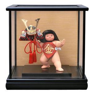 五月人形 幸一光 松崎人形 金太郎 武者人形 ケース飾り 五号 裸金太 剛 兜 黒塗カブセケース h305-koi-5602|2508-honpo