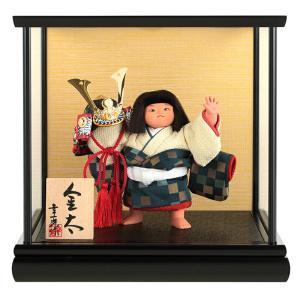 五月人形 幸一光 松崎人形 金太郎 武者人形 ケース飾り 五号 金太 兜 黒塗カブセケース h295-koi-5632|2508-honpo