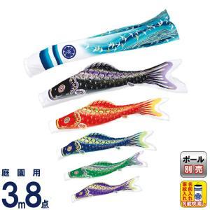 こいのぼり 旭天竜 鯉のぼり 庭園用 3m8点セット 彩風 撥水加工 家紋・名前入れ可能 m-ayakaze-3m-8 2508-honpo