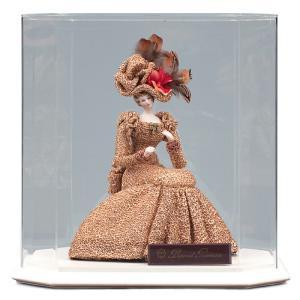 西洋人形 フランス人形 仏蘭西人形 ケース入り人形 寿喜代作 ビスクロマン ゴールド アクリルケース付 sk-brk36|2508-honpo