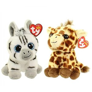 "Set of 2 Ty 6"" Regular Beanie Babies PEACHES The Giraffe and STRIPES the Zebra Stuffed Animal Plush (free gift with purchase) 正規輸入品"