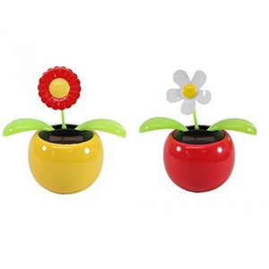 Set of 2 Dancing Flowers ~ 1 Red Sunflower in Yellow Pot + 1 White Daisy in Red Pot Solar Toy Flowers US Seller Great Holiday Christmas Gift Car