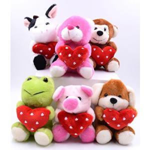 ■商品詳細 6 Animals Plush Toys Holding Hearts.1 Cow, 1...