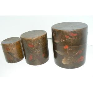 大盛堂 古い銅の茶筒 大中小 3点セット 中古 長期保管品|25dou