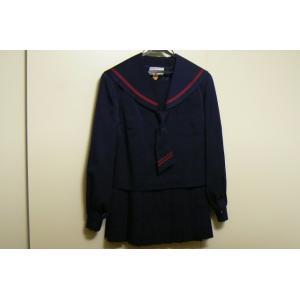 カンコー 戸山中学校 赤ラインセーラー服 中古 上下 業者クリーニング済み|25dou