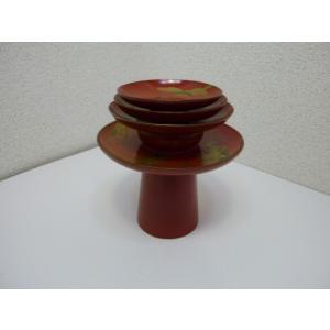 朱塗り金蒔絵の盃三種と盃台の揃え 中古 長期保管品|25dou