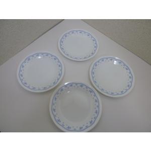 コーニング社 コレール モーニングブルー プレート 4枚セット アメリカ製 中古 ミルクガラス|25dou