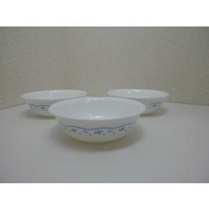 コーニング社 コレール モーニングブルー 中ボウル 3枚セット アメリカ製 中古 ミルクガラス|25dou