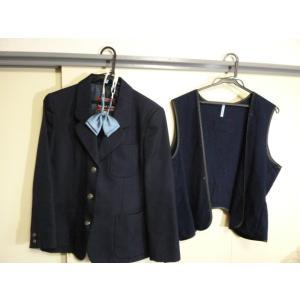 カンコー 青森市南中学校 女子制服紺ブレザー 160A リボン、ライナー付 中古 業者クリーニング済み|25dou
