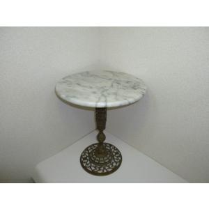 大理石ミニテーブル 中古 少しグラつきあり サイドテーブルや花台にもどうぞ!|25dou