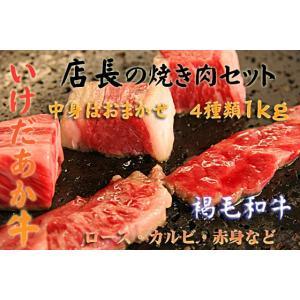 褐毛和牛いけだあか牛 ○●店長おまかせ●○ 焼き肉セット1k...