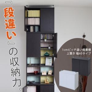1cmピッチ違い棚書棚 幅60 上置き (「段違い」の収納力!違い棚書棚、60幅用の上置き)|2e-unit