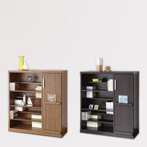 たっぷり収納の飾れる本棚 書棚 Baron タイプ3 幅89cm×高さ96.5cm 本棚 ラック   本州と四国は開梱設置料込み|2e-unit