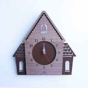 ヤマト工芸 DOUWA HOUSE W ブラウン YK14-001 壁掛け時計 シンプル モダン おしゃれ かわいい 掛け時計 掛時計 ウォールクロック CLOCK 時計 日本製|2e-unit