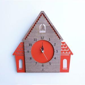 ヤマト工芸 DOUWA HOUSE W レッドブラウン YK14-001 壁掛け時計 シンプル モダン おしゃれ かわいい 掛け時計 掛時計 ウォールクロック CLOCK 時計 日本製|2e-unit