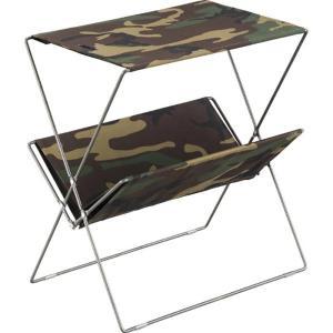 フォールディングサイドテーブル  幅50.5×奥行31.5×高さ53cm スチール&コットン&ポリエステル製 折りたたみ アウトドア 北欧|2e-unit