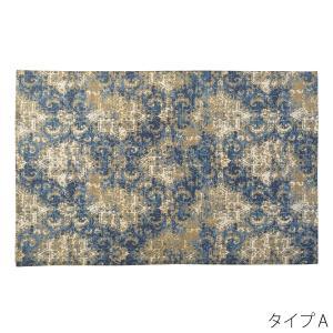 ラグマット コットン 幅90×奥行130cm ヴィンテージ風 マット カーペット  センターラグ 柄 絨毯 じゅうたん|2e-unit