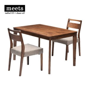 meets dining table set table110 + chair x2 ミーツ ダイニングテーブルセット テーブル幅110cm + チェア2脚 ウォールナット|2e-unit