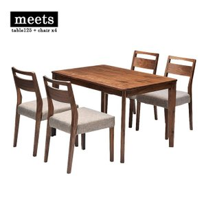 meets dining table set table125 + chair x4 ミーツ ダイニングテーブルセット テーブル幅125cm + チェア4脚 ウォールナット|2e-unit