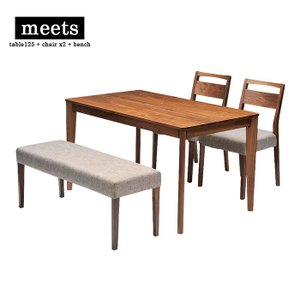 meets dining table set table125 + chair x2 + bench ミーツ ダイニングテーブルセット テーブル幅110cm + チェア2脚 + ベンチ ウォールナット|2e-unit