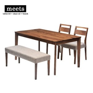 meets dining table set table140 + chair x2 + bench ミーツ ダイニングテーブルセット テーブル幅110cm + チェア2脚 ウォールナット|2e-unit