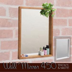 ボックスミラー 幅45 壁掛けミラー 壁掛け 鏡 木製フレーム ブラウン ホワイト|2e-unit