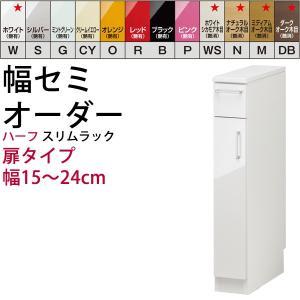 幅15〜24mの1cm単位でセミオーダーのすきま収納 高さハーフ:扉タイプ すきま君シリーズ スリム  開梱設置料込み|2e-unit