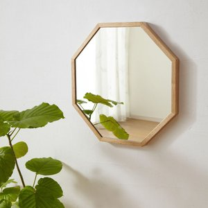 石膏ボード壁用のミラー 八角形45×45cm ミラー付き壁棚シリーズ 壁掛け 壁  送料無料|2e-unit