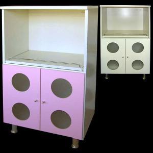 丸窓がかわいいレンジ台 ミニ食器棚 レンジボード ピンク アイボリー レンジ台 食器棚 60幅 60 送料無料|2e-unit