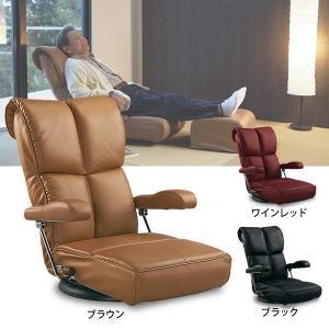 360度回転!日本製座椅子 肘連動のスーパーソフトレザー座いす ハイバック ヘッドリクライニング  送料無料|2e-unit