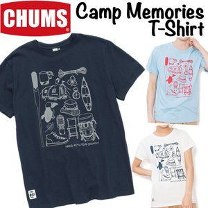 CHUMS チャムス Tシャツ Camp Memories T-Shirt Men's & Women's|2m50cm