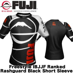 FUJI ラッシュガード Sports Freestyle IBJJF Ranked Rashguard Black Short Sleeve|2m50cm