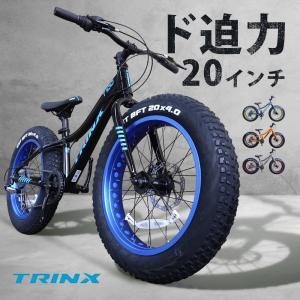 ファットバイク 自転車 20インチ 極太タイヤ 太いタイヤ シマノ Wディスクブレーキ アウトドア マットブラック TRINX T100 2ndcycle