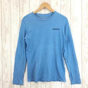 パタゴニア PATAGONIA ロングスリーブ バックロゴ オーガニックコットン Tシャツ  International MEN's XS ブルー系 2ndgear-outdoor