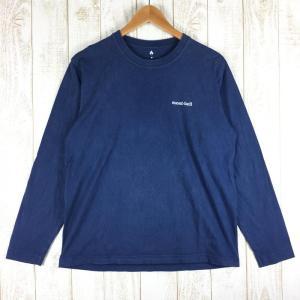モンベル MONTBELL ロングスリーブ スキーヤー コットン Tシャツ  Asian MEN's M ネイビー系|2ndgear-outdoor