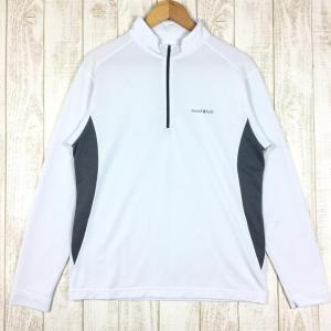 モンベル MONTBELL ウイックロン ZEO ロングスリーブ ジップシャツ  Asian MEN's L ホワイト系|2ndgear-outdoor