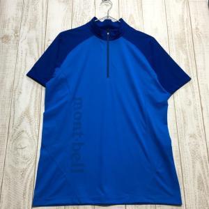 MENs M モンベル クールライト ショートスリーブジップシャツ MONTBELL 1114452 ブルー系|2ndgear-outdoor