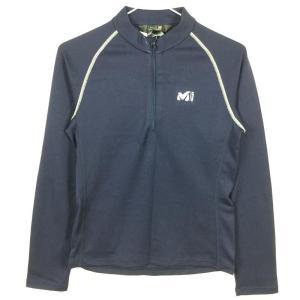 WOMENs XS ミレー ミッドウェイト ロングスリーブ ジップ シャツ ベースレイヤー MILLET MIV0575 ネイビー系 2ndgear-outdoor