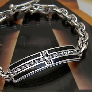送料無料  シルバーアクセサリー ブレスレット クロス・十字架 オニキス ジルコニア シルバー925 b0509 腕周り約18cm|2pcs