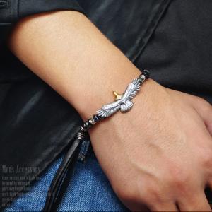 メンズブレスレット パワーストーン シルバー925 イーグル ブラックスピネル b0648 腕周り約15cm〜17cm|2pcs|05
