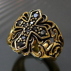 メール便なら送料無料  真鍮アクセサリー ブラス リング 指輪 ブラックジルコニア クロス 十字架 アラベスク bssri0002|2pcs