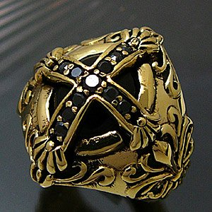 メール便なら送料無料  真鍮アクセサリー ブラス リング 指輪 ブラックジルコニア オニキス クロス 十字架 百合の紋章 フレア bssri0003|2pcs