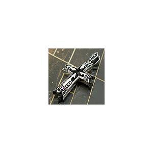 送料無料  シルバーアクセサリー ペンダント ネックレス pe0950 十字架 クロス 王冠 クラウン オニキス チェーン別売り|2pcs