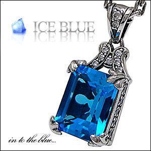 シルバーアクセサリー メンズ ペンダント・ネックレス フレア スクエア 鏡 ブルー・青 ジルコニア pe1685 c0065-50cmチェーン付き|2pcs