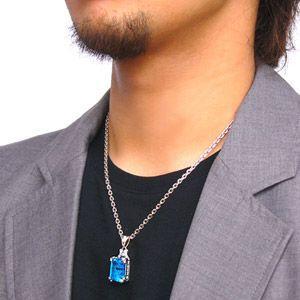 シルバーアクセサリー メンズ ペンダント・ネックレス フレア スクエア 鏡 ブルー・青 ジルコニア pe1685 c0065-50cmチェーン付き|2pcs|02