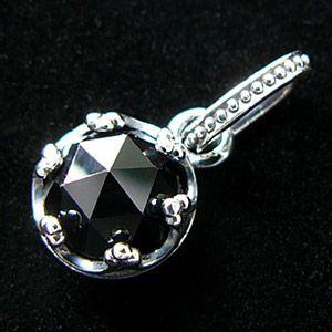 シルバーネックレス メンズネックレス ブラックスピネル 王冠 クラウン pe1750 45cmチェーン付き|2pcs|02