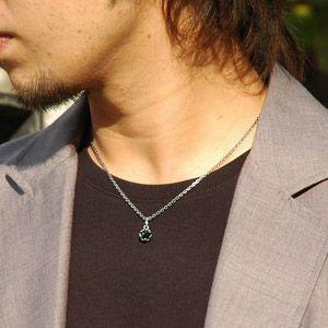 シルバーネックレス メンズネックレス ブラックスピネル 王冠 クラウン pe1750 45cmチェーン付き|2pcs|06