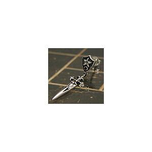 メール便なら送料無料  シルバーアクセサリー ピアス シルバー925 レッドジルコニア 十字架 クロス 剣 pi0285 バラ売り|2pcs