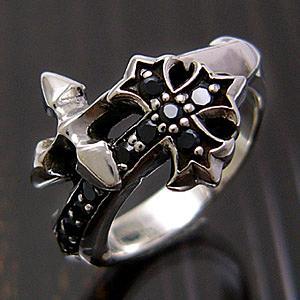 送料無料  シルバーアクセサリー シルバー925 リング 指輪 ブラックジルコニア 十字架 クロス r0436|2pcs